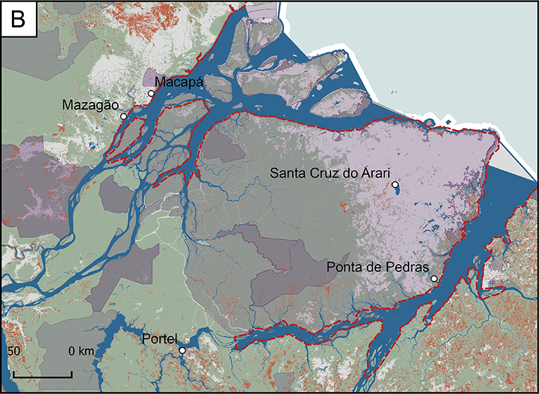 Map of Focus Research Area B, which is bordered by the east coast. Three large branches of the river cut through it. This area includes the cities of Mazagao, Macapa, Santa Cruz do Arari, Ponta de Pedras, and Portel.