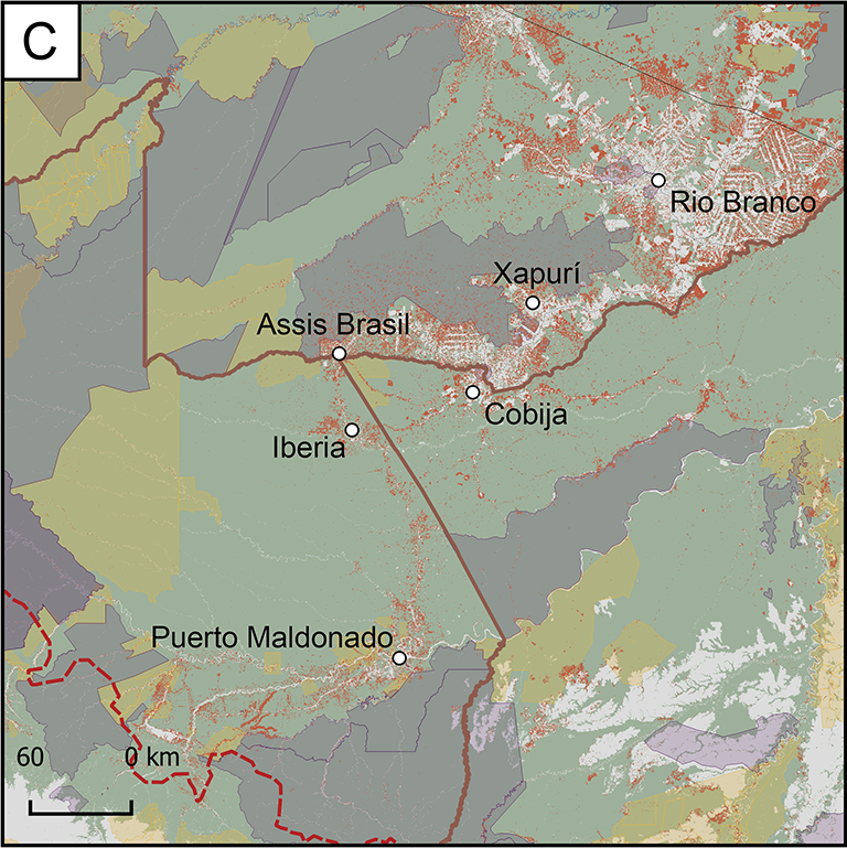 Map of Focus Research Area C, which is in the southwest section of the region. It contains large sections of indigenous land and conservation units. This area includes the cities of Rio Brance, Xapuri, Cobija, Assis Brasil, and Iberia.