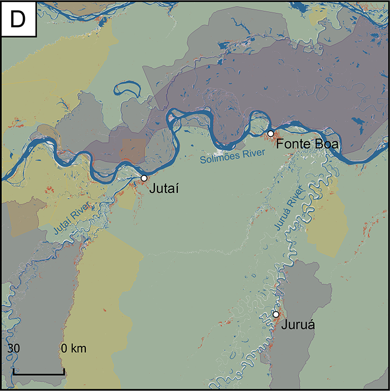 Map of Focus Research Area D, which is near the center of the region. The Jutai and Solimoes Rivers run through this area. This area includes the cities of Jutai and Fonte Boa.