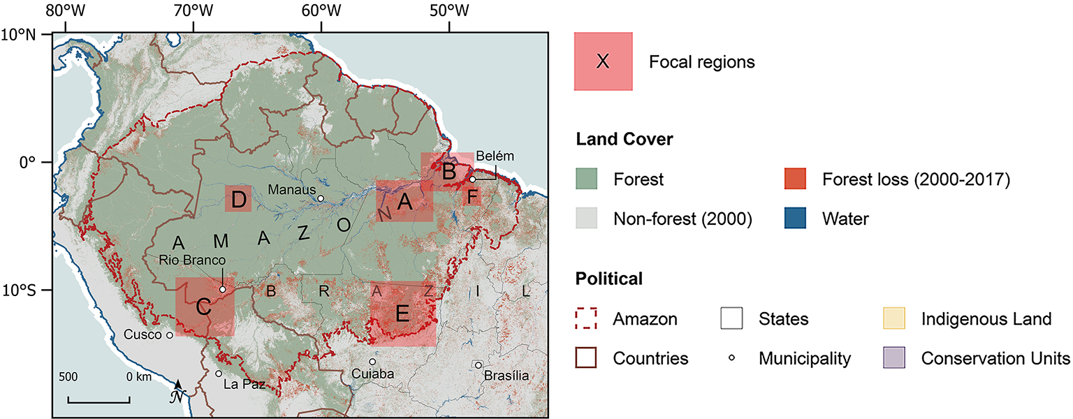 Map of the northern half of South America, pinpointing the six focus research areas of the AGENTS project.