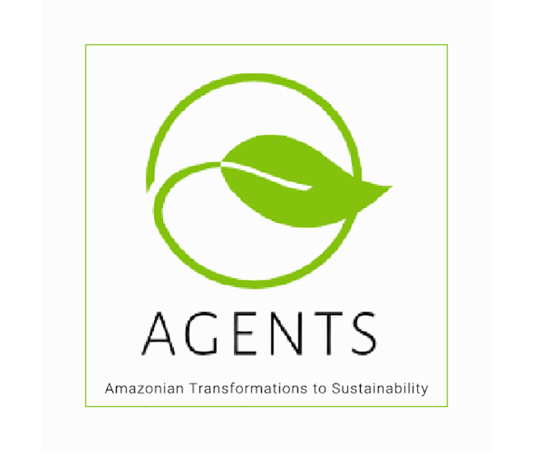 A simple green leaf's stem extends to become a circle encircling the leaf, creating the AGENTS project logo.